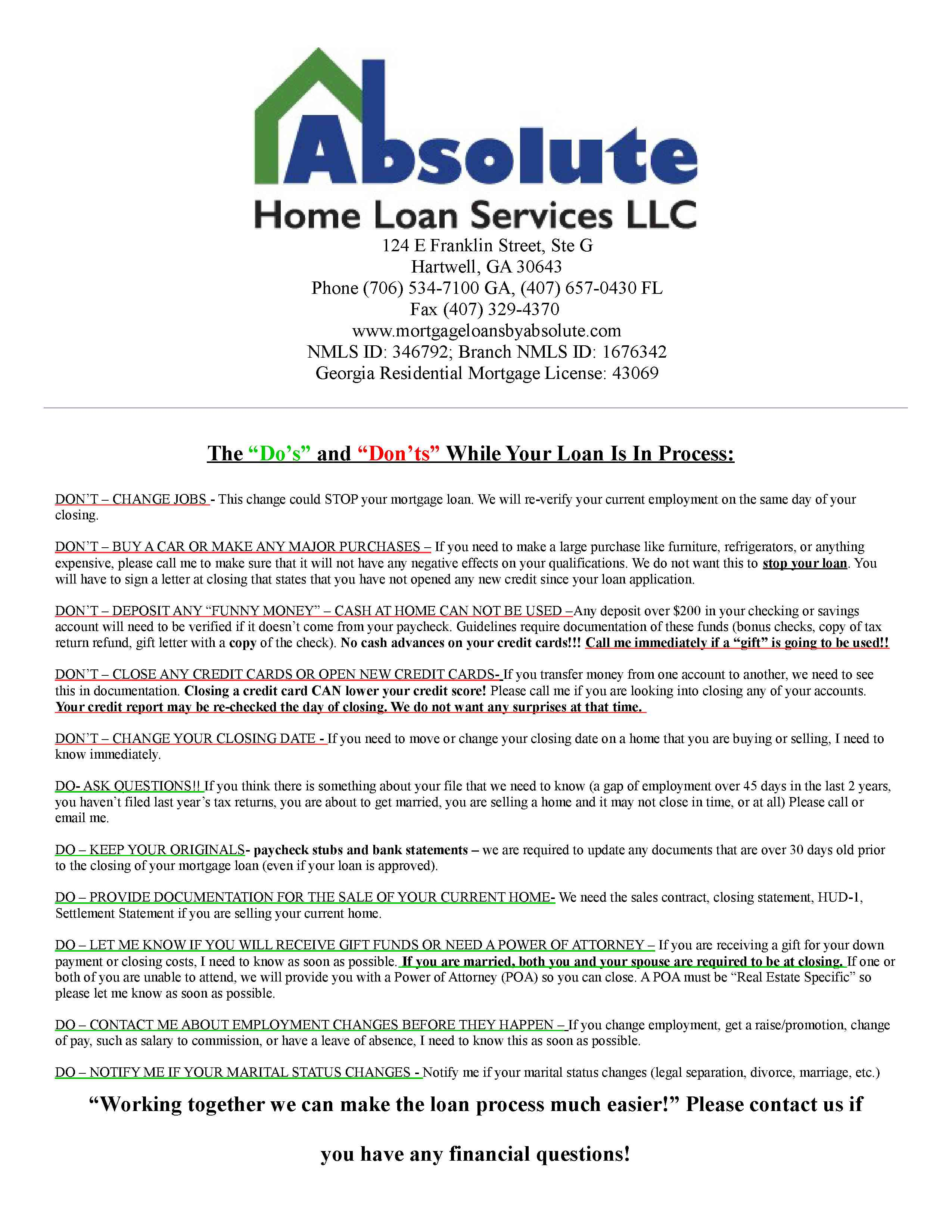 Important Documents | Absolute Home Loan Services, LLC