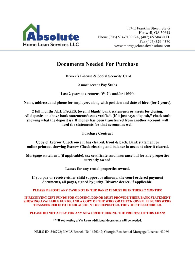 Purchase list of documents needed1