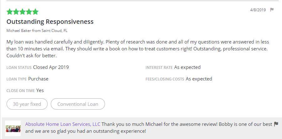 Testimonials | Absolute Home Loan Services, LLC